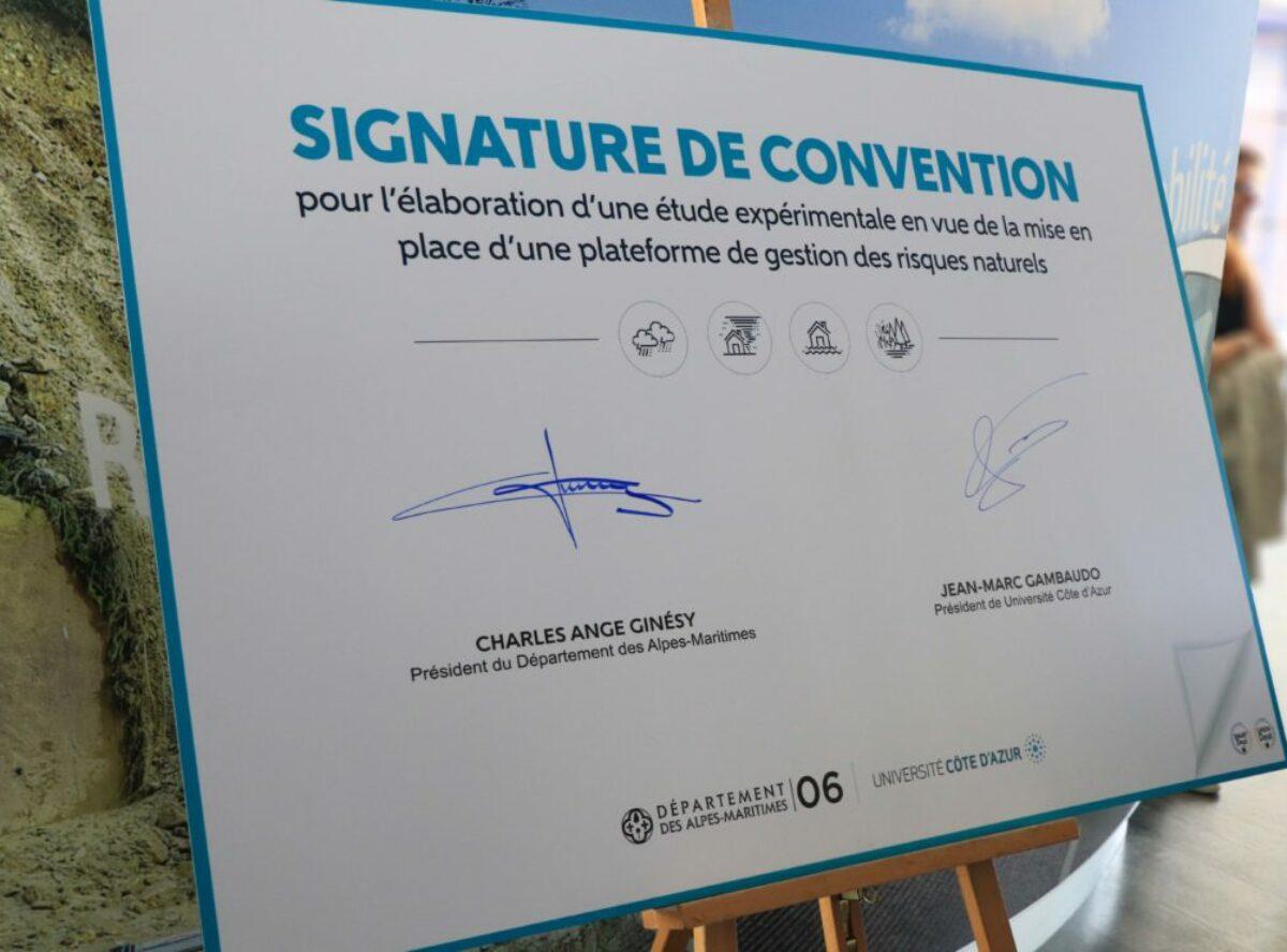Signature de convention: plateforme de gestion de risques naturels Alpes-Maritimes